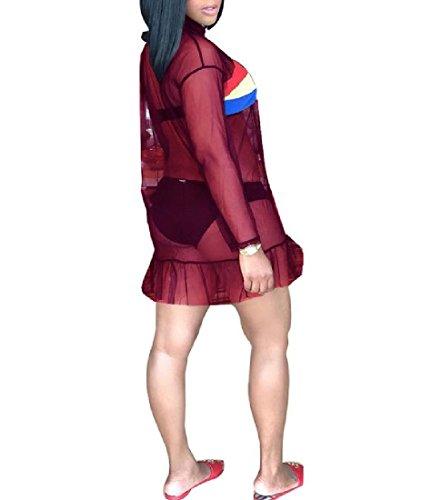 Mesh Women Dress Red Wine See Sleeve Through Shirt Sheer T Coolred Long wZadqZY