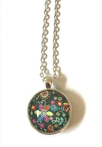 - 2-Sided Reversible Silver-Plate Multi Color Black Floral Flower Textile Design Glass Cabachon Pendant Necklace