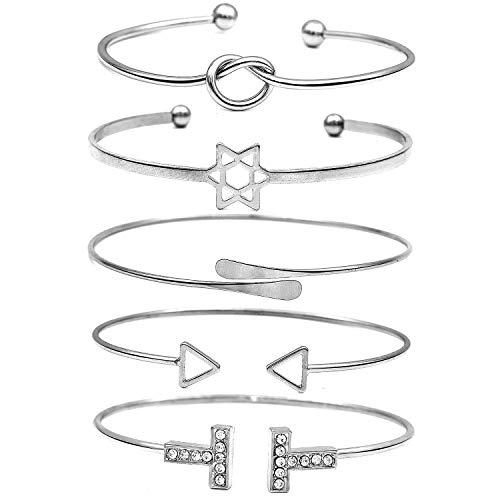Suyi Women's Knot Heart Bangle Bracelets 5 Pieces Set Open Cuff Bracelets Star|Rhinestone T|Triangle|Circle Bangles Adjustable Wedding Wrap Jewelry ()