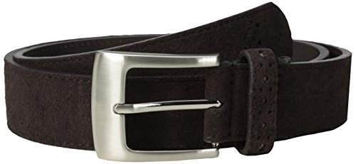 Stacy Adams Men's 32mm Genuine Leather Belt With Perforated Tip and Keeper, Chocolate Suede, 42