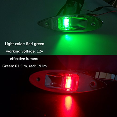 iztor 12V Marine Boat Yacht LED Navigation Side bow Lights Pair Stainless Steel- Red & Green by iztor (Image #3)