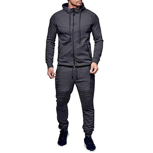 Sports Suit,Caopixx Men's Autumn Winter Pocket Zipper Thicken Sweatshirt Top Pants Sets Slim Fit Tracksuit by Caopixx Tops