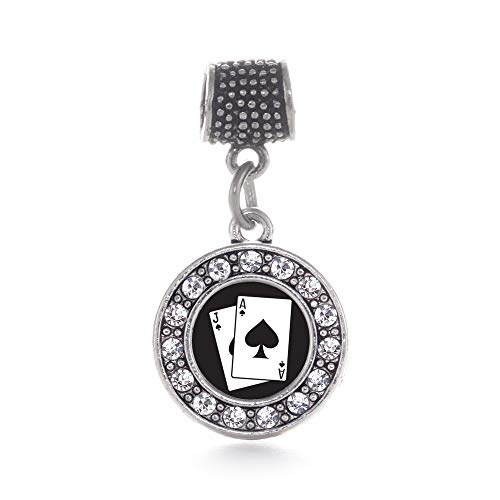Inspired Silver - Blackjack Memory Charm for Women - Silver Circle Charm for Bracelet with Cubic Zirconia Jewelry