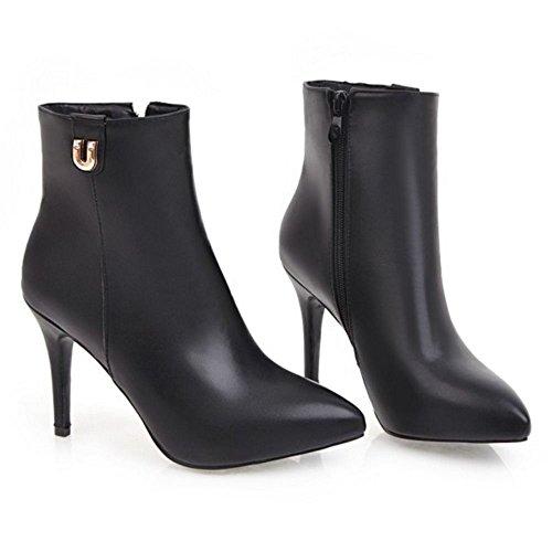 Warm Zipper Boots COOLCEPT Women Black pgqOcv45w