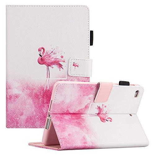 (iPad Mini Case, Mini 2/3/4 Case, Dteck Slim Fit PU Leather Flip Folio Stand Case with Auto Wake/Sleep Function [Card Slots & Money Holder] Smart Cover for Apple iPad Mini 4/3/2/1, Pink Flamingo)