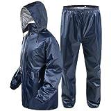 Vbirds Men's Bike/Scooter Water Proof Blue Plain Unisex Rainsuit with Bag (Prime Blue)