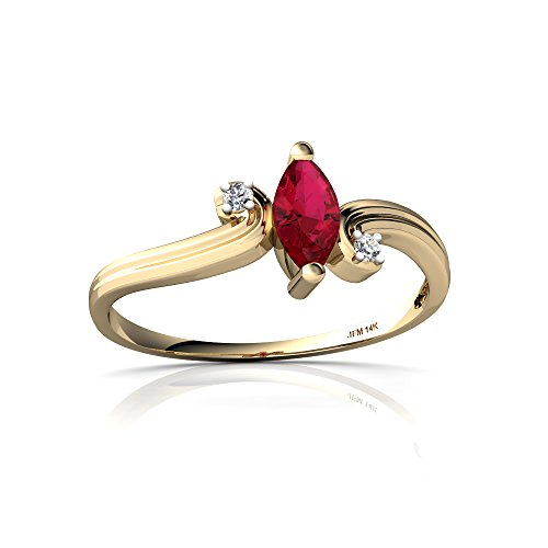 14kt Yellow Gold Lab Ruby and Diamond 6x3mm Marquise Ocean Waves Ring - Size 5.5