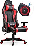 GTRACING Music Gaming Chair with Speakers Bluetooth Video Game Chair Heavy Duty Computer Office Desk Chair GT890M Red