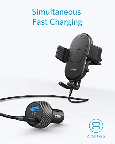 Anker-PowerWave-Fast-Wireless-Car-Charger-with-Air-Vent-Phone-Holder-Qi-Certified-75W-Fast-Charging-iPhone-Xs-MaxXRXSX88-Plus-10W-for-Galaxy-S9S9S8S8-Quick-Charge-Car-Charger-Included