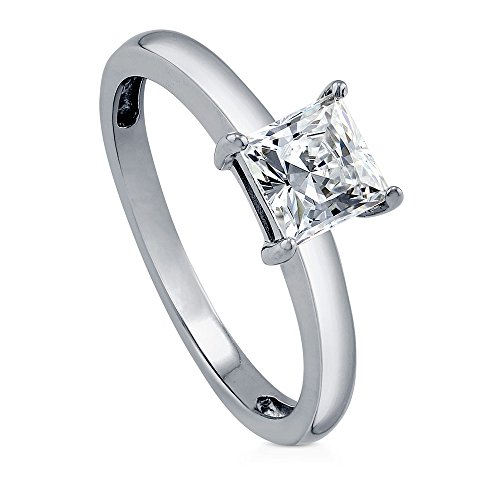 BERRICLE Rhodium Plated Sterling Silver Cubic Zirconia CZ Solitaire Promise Engagement Ring Size 8
