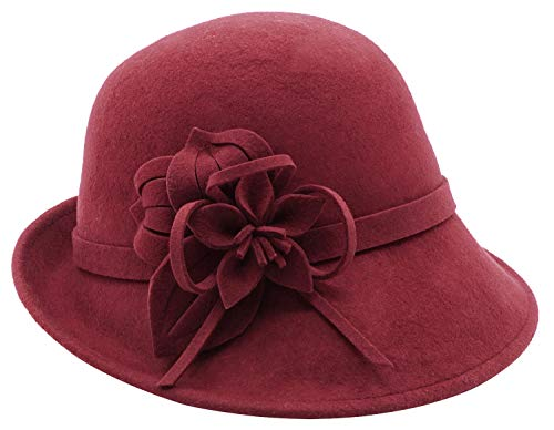 Bellady Women's Elegant Flower Wool Cloche Bucket Bowler Hat, WineRed