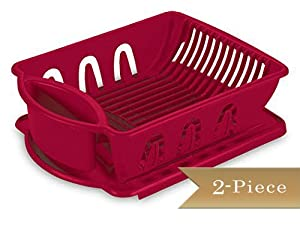 2 piece truecraftware medium dish rack drainer set red kitchen dining. Black Bedroom Furniture Sets. Home Design Ideas