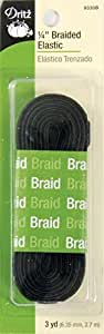Dritz 9330B Braided Elastic, Black, 1/4-Inch by 3-Yard