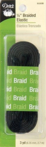 Dritz 9330B Braided Elastic, 1/4-Inch x 3-Yard, Black