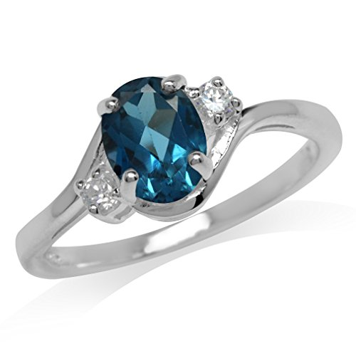 1.43ct. Genuine London Blue & White Topaz 925 Sterling Silver Engagement Ring