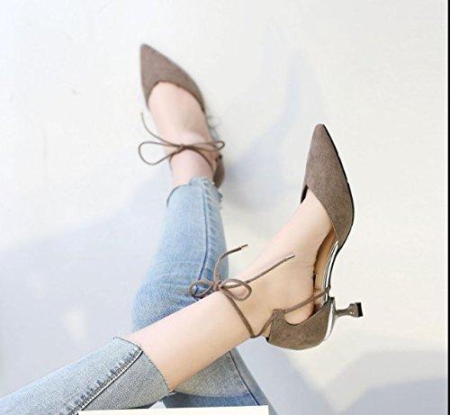 Ajunr Moda/elegante/Transpirable/Sandalias Sandalia correa Zapatos puntiagudos Toda la correspondencia Hueca 6cm sexy zapatos de tacón alto Gris ,34 35