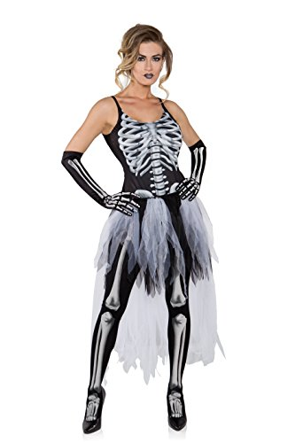 [Underwraps Costumes Women's Sexy Skeleton Costume - Tutu, Black/Grey/White, Small] (Womens Tank Dress Wonder Woman Costumes)