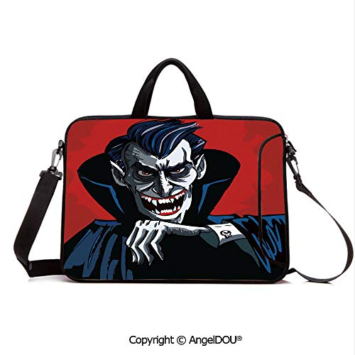 AngelDOU Neoprene Printed Fashion Laptop Bag Cartoon Cruel Old Man with Cape Sharp Teeth Evil Creepy Smile Halloween Theme Notebook Tablet Sleeve Cases Compatible with Lenovo Asus Acer HP Blue Red -