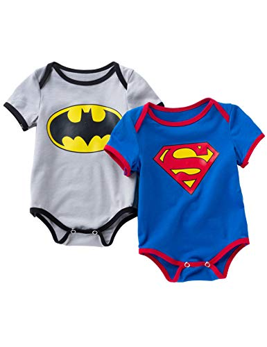 D.B.PRINCE Newborn Baby Boys Girls Superman Short Sleeve Bodysuit Romper Outfits (6-12 Months, 2pcSuperman) ()