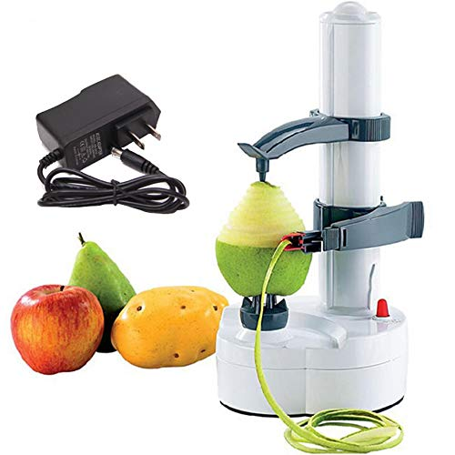 Kiwi Pear - HTYX Electric Peeler Automatic Rotating Apple Peeler Potato Peeling Tool Pear Carrot Mango Kiwi Peeler Stainless Steel Fruit and Vegetable Electric Peeler White 290×140×140mm
