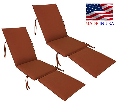 Made in USA Outdoor Sunbrella Canvas Brick #5409 Steamer Chair Replacement Cushion Pad (2-PACK) (Cushions Steamer Replacement Chair)