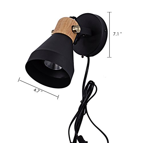 Minimalist Plug-in Wall Sconce Modern Black Wall Lamp with Cord Contemporary Rotatable Wall Light Fixture for Bedroom Living Room Bedside Lamp by BSM (Image #3)