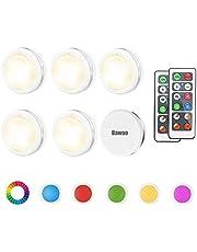 Led-kastverlichting, 6-delige nachtlamp met afstandsbediening, trappenlicht, onderbouwlamp, werkt op batterijen, voor slaapkamer, kledingkast, kast, keuken