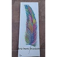"""Cuadro decorativo moderno - Pintura""""Pluma de ave de colores"""" decoración del hogar, obra de arte, art wall, arte, decor home."""