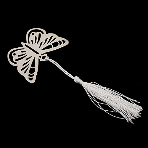 Butterfly Silver-Metal Bookmark with Silver Silk Tassel