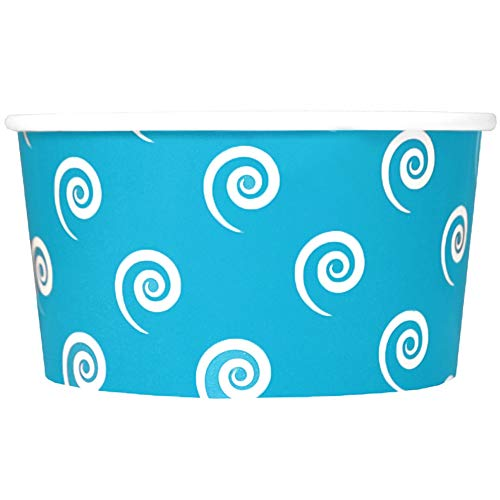 Blue Paper Ice Cream Cups - 6 oz Swirls And Twirls Dessert Bowls - Comes In Many Colors & Sizes! Frozen Dessert Supplies - Fast Shipping! 1,000 Count