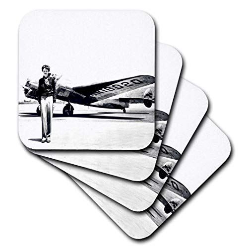 3dRose Old Photo of Amelia Earhart with Lockheed Electra Model 10 - Soft Coasters, Set of 4 (CST_62531_1) ()
