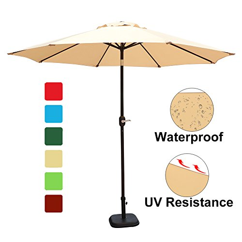 Goldsun Patio 9 Ft Market Outdoor Aluminum Table Patio Umbrella with Push Button Tilt and Crank (Beige) For Sale