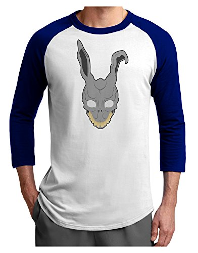 TooLoud Scary Bunny Face Adult Raglan Shirt White Royal Large