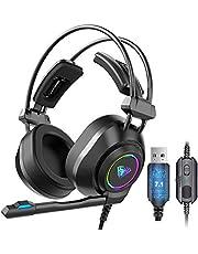 سماعة راس للالعاب S600 بنظام صوت محيطي 7.1 مع ميكروفون بخاصية الغاء الضوضاء، واضواء RGB، تحكم في مستوى الصوت، سماعة راس سلكية بمنفذ USB فوق الاذن، لالعاب اللاب توب والكمبيوتر (جاك USB)