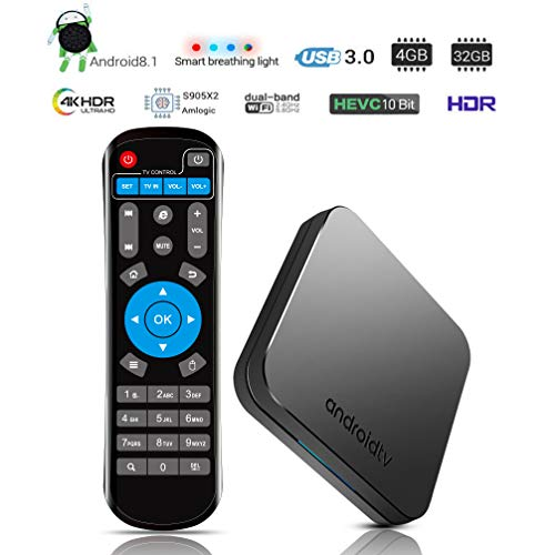 2019 KUAK Android 8 1 Oreo TV Box 4GB LPDDR4 RAM 32GB ROM Amlogic S905X2  CPU 64Bit with LED Smart Breathing Light,Bluetooth 4 1,Dual WiFi 2 4G  5G,USB