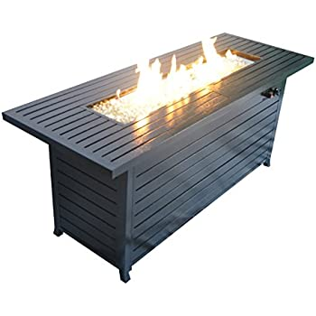 LEGACY HEATING Rectangular Fire Pit Table, Hammered Black Powder Coated  Finish