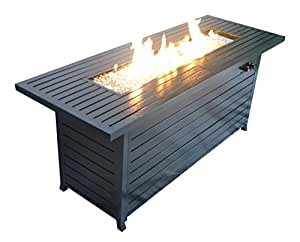 California Outdoor Design Legacy Heating Rectangular Fire Pit Table, Hammered Black powder coated finish
