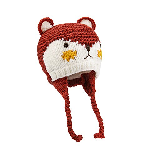 SUMOLUX Baby Toddlers Warm Earflap Beanies Hat Knitted Fox Animal Ears Hats Lined Beanie Crochet Handmade Cap for Winter