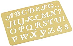 Darice Brass 3-1/4 Inch by 2-1/4 Inch Embossing Stencil, Letters