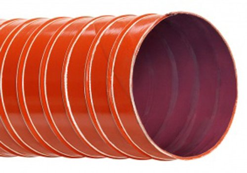 Hi-Tech Duravent L-9 Series High Temperature Silicone Coated Two Ply Fiberglass Duct Hose, Brick Red, 3'' ID, 3.1300'' OD, 12' Length