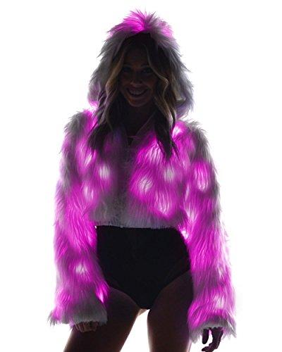 iHeartRaves Solid Light Up Rave Fur Jacket (Pink)