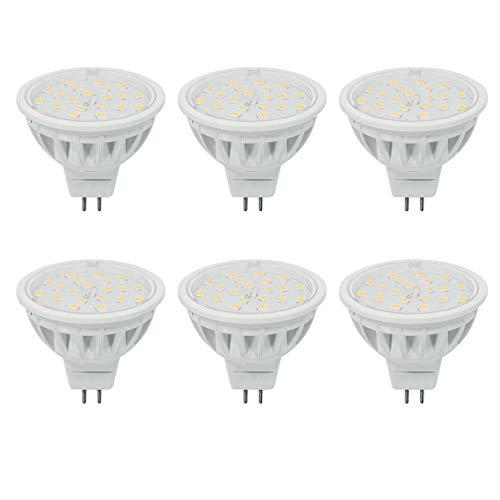 5W MR16 LED Bulb Gu5.3 Spotlight Daylight White 5000K,Equivalent 50W 600LM 120°Beam Angle Not Dimmable RA85 DC12V 6 Pack.