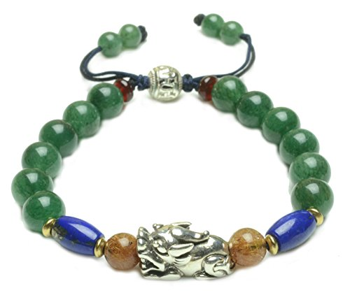 Fortune Silver Tiger Lapis lazuli Green Jade Amulet Bracelet - Fortune Feng Shui Jewelry