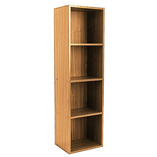 GOTOTOP Wood Bookcase, Storage Bookshelf Open Shelf Organizer Furniture Office Bookcase (Wood, 4 Tier)
