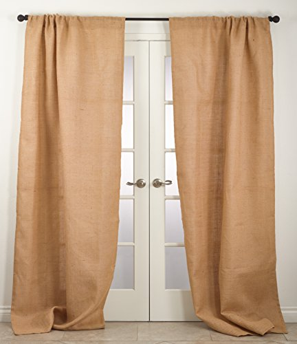 Natural Lined Curtains - SARO LIFESTYLE Rustic Farmhouse Style Burlap Jute Lined Curtain Panel/0811.N42108, 42