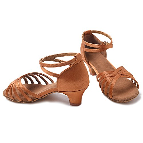Ballroom Tango Roymall Women's Satin Dance Latin Brown Salsa XGG Shoes Model Shoes Performance wXa4wq