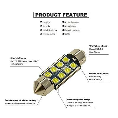 DODOFUN 36MM Festoon 6418 DE3423 DE3425 6000K White Extra Bright LED Bulbs for Car Interior Lights License Plate Map Dome Trunk Door Courtesy Light 8-SMD Chipset Canbus Error Free: Automotive
