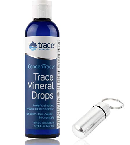 (Trace Minerals Research - Concentrace Trace Mineral Drops - 8oz with Bonus Mineral Drops Keychain Holder )