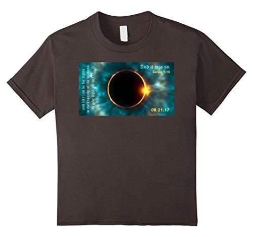 Price comparison product image Kids Solar Eclipse 2017 Christian T-Shirt with Genesis 1:15 10 Asphalt