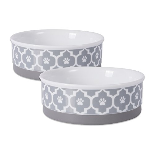 DII Bone Dry Lattice Ceramic Medium Pet Bowl For Food & Water, 6